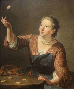 """""""Les Osselets"""" by Jean-Baptiste-Someon Chardin, 1734."""