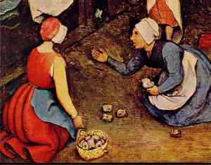 """Up close portion of """"Children's Games"""" by Brugel, painted in 1560, depicting two girls playing knucklebones."""