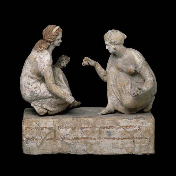 """Ancient Greek Adolescent Girls at Play,"" dating to 330--300 BCE, currently held by the British Museum."