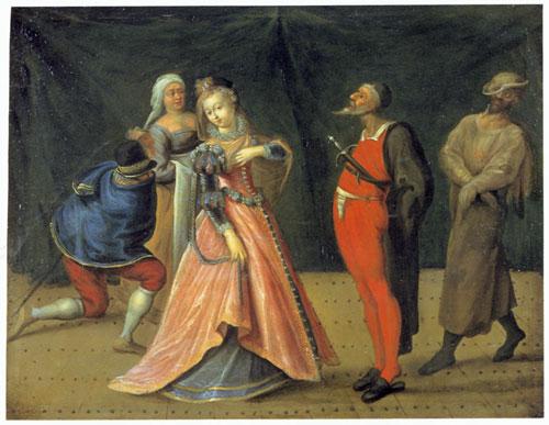 Scene From The Commedia dell' Arte, Drottningholms Teatermuseum, Stockholm.