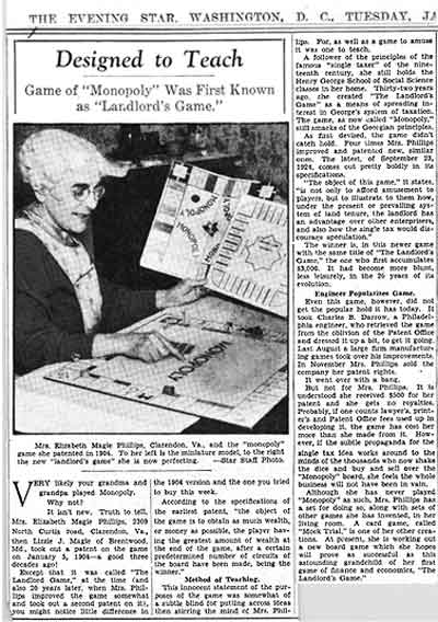 Scanned article from The Evening Star on Magie's The Landlord's Game