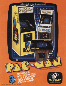 Advertisement for Pac-Man, copyright Namco and Midway.